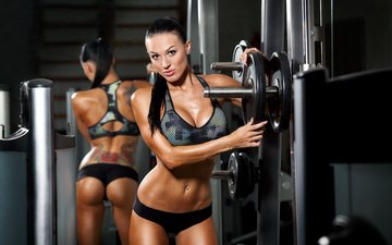 brunette, model, sport, fitness, training