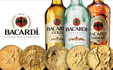 bottle, alcohol, coins, rum, bacardi
