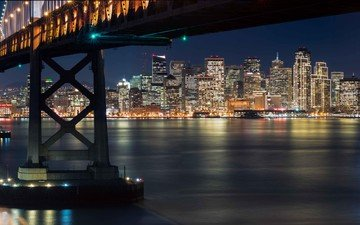 night, bridge, the city, bay, usa, san francisco, ca