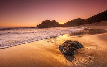 скалы, природа, закат, пейзаж, пляж, рассвет, океан, калифорния