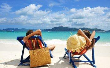 природа, пейзаж, море, пляж, пара, отдых, мужчина, женщина, тропики, шляпа