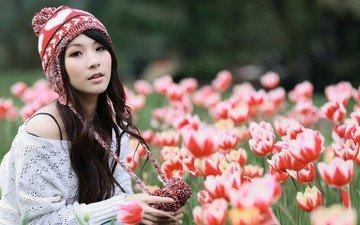 цветы, природа, девушка, тюльпаны, шапка, азиатка