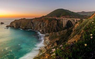 nature, bridge, coast, the ocean, usa, ca, the pacific ocean, the bixby bridge, big sur