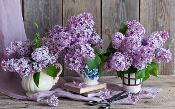 flowers, books, bouquet, lilac, scissors, still life