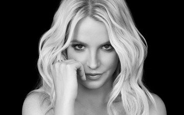 girl, blonde, look, black and white, hair, face, singer, celebrity, britney spears