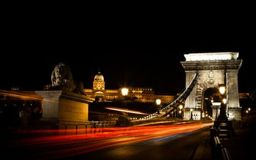 night, bridge, hungary, budapest, chain bridge