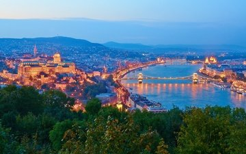 river, sunset, panorama, the city, hungary, budapest, the danube, buda castle