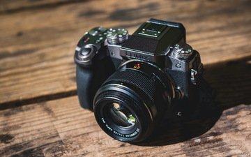 фотоаппарат, камера, фотокамера, деревянная поверхность, lumix