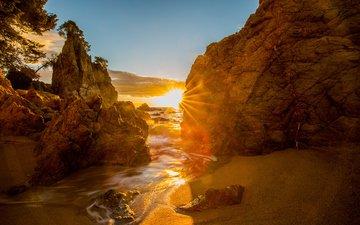 скалы, природа, море, пляж, побережье, испания, каталония, коста брава, кап ройг