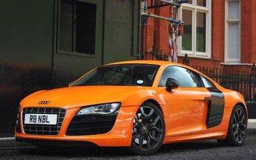 ауди, автомобили, автомобиль audi r8, orange car