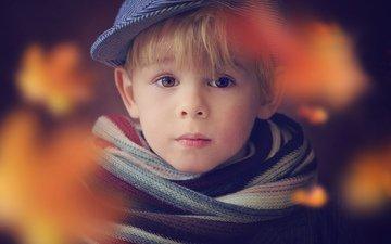 взгляд, лицо, ребенок, мальчик, кепка, шарф