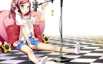 girl, microphone, look, skirt, headphones, face, blue eyes, socks, manga, pink hair, chiyoda momoka