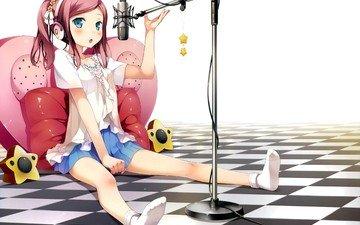 девушка, микрофон, взгляд, юбка, наушники, лицо, голубые глаза, носки, манга, розовые волосы, chiyoda momoka
