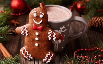 new year, decoration, cinnamon, holidays, cup, christmas, cookies, cocoa, hot chocolate, gingerbread, the gingerbread man