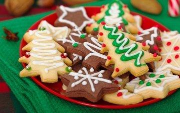christmas, sweet, cookies, cakes, dessert, glaze, herringbone, asterisk