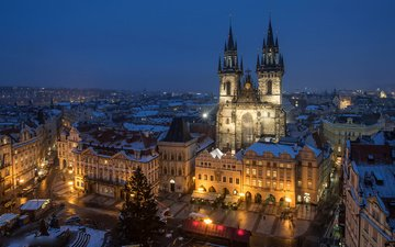 night, the city, church, twilight, prague, czech republic, tyn church
