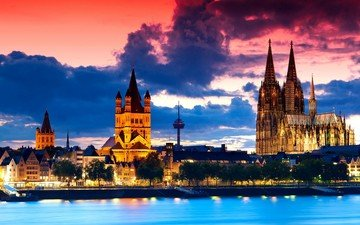 the evening, sunset, panorama, the city, architecture, twilight, germany, cologne, cathedral, cologne cathedral