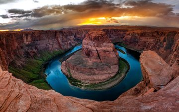 the sky, clouds, river, mountains, rocks, nature, canyon, usa, az, colorado, horseshoe, horseshoe bend, crafts of colorado