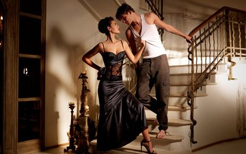 девушка, платье, парень, любовь, отношения, пара, фигура, страсть, влюбленные