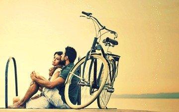 девушка, фон, парень, пара, настроения, отдых, велосипед