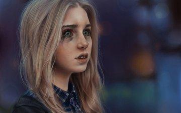 art, girl, mood, blonde, look, hair, face, tears, cries