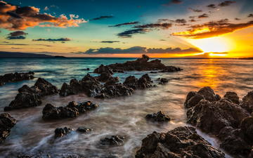 the sky, clouds, water, stones, sunset, sea