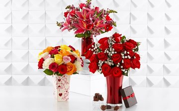 flowers, roses, petals, candy, romance, gift, chocolate, sweet, dessert, vases, bouquets, composition