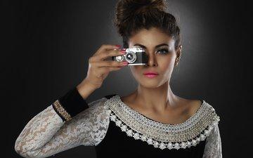 стиль, девушка, портрет, взгляд, модель, фотоаппарат, губы, лицо