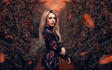 girl, dress, blonde, look, autumn, model, makeup, figure, alessandro di cicco