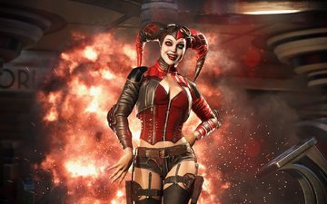 girl, smile, look, the game, face, horns, harley quinn, injustice 2