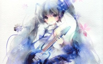 девушка, гитара, взгляд, аниме, вокалоид, волосы, лицо, мику хацунэ