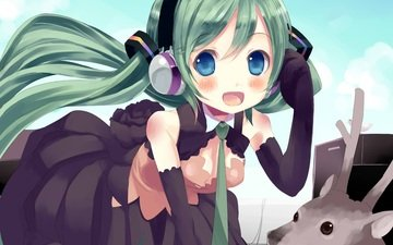 deer, girl, look, anime, headphones, vocaloid, hair, face, hatsune miku