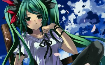 art, vocaloid, green hair, miku hatsune