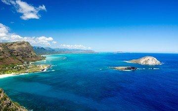 небо, берег, море, скала, пляж, горизонт, залив, океан, островок, остров, лагуна, бухта, тропики, мыс, гавайи, полуостров, оаху