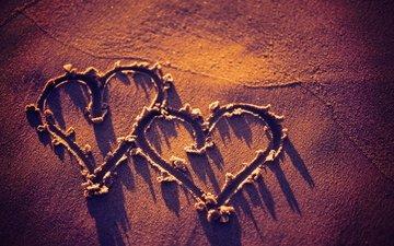 texture, sand, beach, heart, hearts