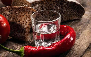 bread, vodka, chile, pepper, glass, wooden surface
