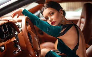 girl, look, model, face, actress, red lips, neckline, the wheel, bentley, stephanie corneliussen