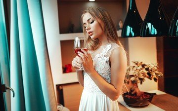girl, blonde, model, glass, face, white dress, the bride, peter pasternak