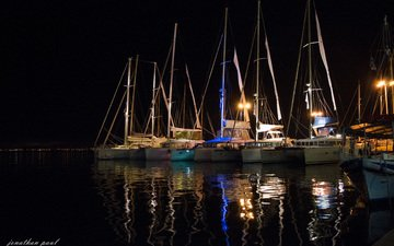 night, lights, water, reflection, yachts, yacht