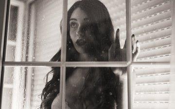 девушка, капли, грусть, чёрно-белое, дождь, лицо, окно, стекло, mara saiz