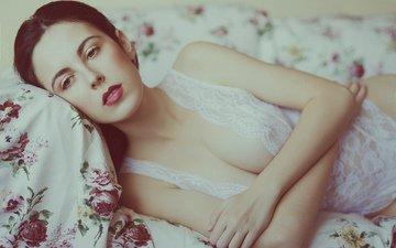 girl, look, model, hair, face, posing, in lingerie