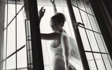 девушка, взгляд, чёрно-белое, крылья, волосы, лицо, окно
