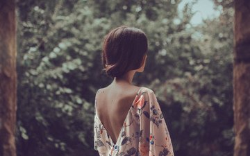 nature, girl, dress, back, hair, mara saiz