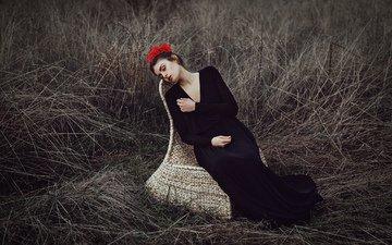 цветы, трава, природа, платье, модель, волосы, кресло, mara saiz