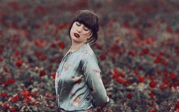 цветы, девушка, волосы, губы, лицо, закрытые глаза, mara saiz