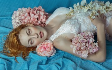 flowers, girl, model, hair, face, makeup, linen