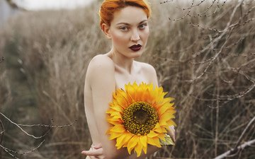 девушка, портрет, взгляд, рыжая, волосы, губы, лицо