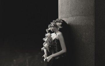 ветка, листья, девушка, чёрно-белое, волосы, mara saiz