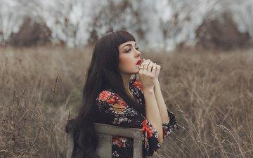 природа, девушка, взгляд, стул, профиль, волосы, лицо, mara saiz