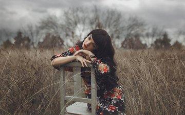 природа, девушка, взгляд, стул, волосы, лицо, сидя, mara saiz